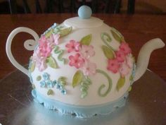 Teapot cake for tea party with granddaughters.