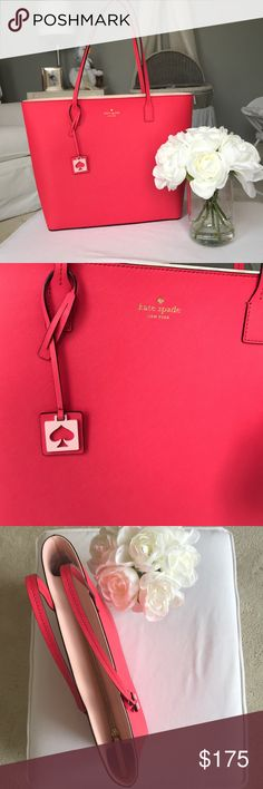 Brand new Kate spade shoulder Tote Brand new never worn kate spade shoulder tote bag in gorgeous coral color. Gold hardware with a pale ballerina pink interior. Gorgeous bag for spring and summer! kate spade Bags Totes