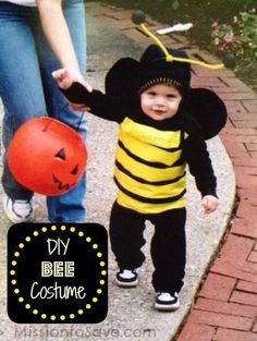 Check out this super easy (and adorable) DIY Bee Costume for your little bug this Halloween!