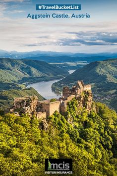 Experience a magical vibe in the ancient Aggstein Castle of Austria located 300 m above the Danube River.  #Austria #River #Danube #Castle #Ancient #Nature #Travel