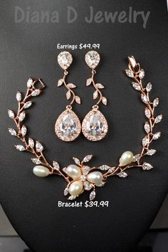 Rose gold Crystal Bridal earrings Wedding jewelry by thefabbridal3