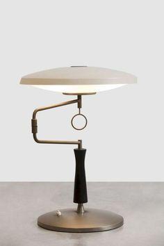 I love lamp. Nickel-Plated Brass, Enameled Metal and Satin Glass Table Lamp for Fontana Arte, Interior Lighting, Modern Lighting, Lighting Design, Luxury Lighting, Luminaire Suspension Design, Luminaire Vintage, Design Industrial, Desk Lamp, Table Lamps