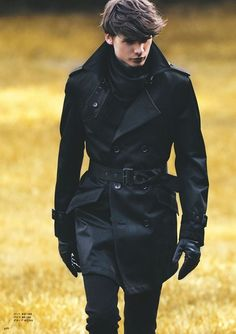 Sharp belted black trench