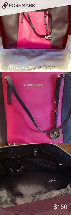Michael Kors Jet Set Medium Saffiano Hard to find MK medium pink and black travel Tote. Interior has one zip pocket, and 4 open pockets. Silver hardware. Smoke free home, comes with dust bag. Gently used, no inside stains. Bottom side has small indent in leather (about width of my pinkie nail) as seen in last pic. ⚡️fast shipping 💸make an offer 🚫no trades Michael Kors Bags Totes