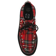 T.U.K. Red Tartan Studded Low Sole Creeper | Hot Topic (97 AUD) ❤ liked on Polyvore featuring shoes, punk rock shoes, synthetic leather shoes, creeper shoes, t u k shoes and faux leather shoes