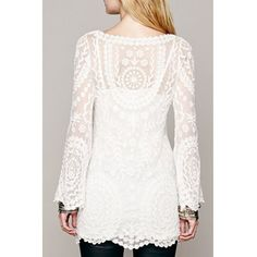 Alluring Scoop Collar Long Sleeve See-Through Solid Color Lace Women's Dress #shoes, #jewelry, #women, #men, #hats, #watches, #belts