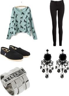 A fashion look from October 2012 featuring five pocket jeans, flat pumps and beading earrings. Browse and shop related looks. Teen Fashion 2014, Womens Fashion, Toms Outfits, Cute Outfits, Toms Ballet Flats, Fall Looks, Fall Winter Outfits, Fashion Dresses, Dress Up