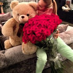 Wonder what he did?! Lol! That's ALOT of flowers. O_O My Sweet Valentine, Valentine Day Gifts, Valentines, Flower Boquet, My Flower, Monkey Teddy Bear, Costco Bear, Ted Bear, All Of The Lights
