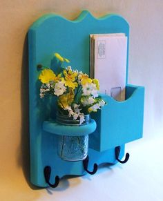 Mail Holder - Key Hooks - Jar Vase - Organizer. $24.95, via Etsy.