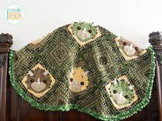 Crochet Pattern PDF for making a cute Triceratops Dino Dinosaur Throw Blanket by IraRott Inc.
