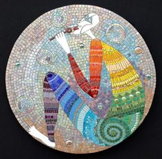 "Bubbles | Irina Charny Mosaics. Bubbles 24"" glass, porcelain, millefiori, gold, beads 2006"