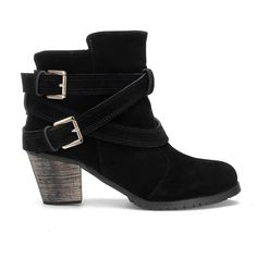 e3c21db3a1fe Black Double Buckle Strap Short Boots - US 39.95 -YOINS Low Heel Ankle Boots