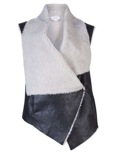 Leather and Shearling Vest In Black