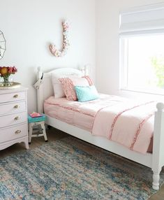 Beddys Bedding - Girls Shared Bedroom: Why We Love Our Blush Pink Ruffle Bedding from Beddy's Little Girl Beds, Bed For Girls Room, Big Girl Bedrooms, Girls Shared Bedrooms, Cute Beds For Girls, Girls Pink Bedroom Ideas, Girls Pink Bedding, Teen Rooms, Teen Room Lights