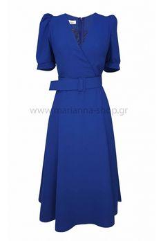 Φόρεμα κρουαζέ μπλε ρουα.Φόρεμα με φύλλα και σκίσιμο μπροστά. Έχει κρουαζέ κόψιμο, ζώνηκαι κοντά μανίκια. Κουμπώνει στην πλάτη με φερμουάρ.Ελληνική ραφή. Casual Looks, Wrap Dress, Dresses For Work, Shopping, Fashion, Moda, Fashion Styles, Fashion Illustrations, Casual Clothes