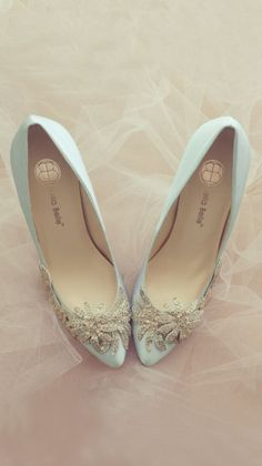 Blue Crystal Vine Wedding Shoes by Bella Belle - Fashion and Love