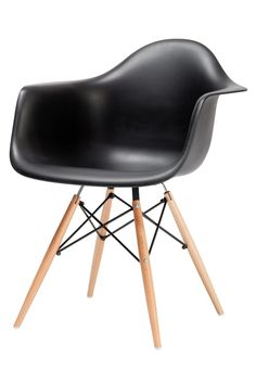 Replica Charles Eames Dining Arm Chair (Wood Legs) -- This Replica Dining Arm Chair is inspired by the classic mid 20th century designs of Ray and Charles Eames. This Replica design modern chair is sleek, and is a perfect addition to any home or office.   The seat shell is made of polypropylene, the legs are solid wood with a natural lacquer coating. The cross beams are powdercoated black. These chairs make a great end chair for wood dining tables, or a more generous dining chair. With a ...