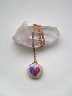 cross stitch pendant necklace