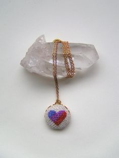 cross stitch pendant necklace