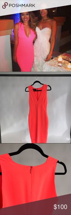 CELEB BOUTIQUE Vanessa Hot Pink Dress Gorgeous form fitting dress as seen on fashion blogger Marianna Hewitt (purchased from her mystery box on Posh, but sadly is too small for me!) Size XS. Perfect for a night out! Neon pink color. 95% poly, 5% spandex Celeb Boutique  Dresses Midi