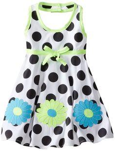 Blueberi Boulevard Baby Girls' Flower Dot Halter Sundress, Black, 12 Months