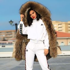 to this photoshoot and to my fave jacket by 🔥💜 Beautiful Dresses For Women, Beautiful Ladies, Neon Outfits, Famous Singers, Famous Girls, Fur Coat, Fashion Dresses, Leather Jacket, Sports