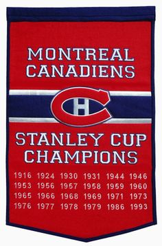 Montreal Canadiens Championship Banner measures feet, is made of thick wool, and is detailed embroidered with the logos and insignias of the Montreal Canadiens. This Montreal Canadiens Championship Banner is Officially Licensed by the NHL. Hockey Girls, Hockey Mom, Hockey Teams, Hockey Players, Ice Hockey, Sports Teams, Funny Hockey, Flyers Hockey, Hockey Stuff