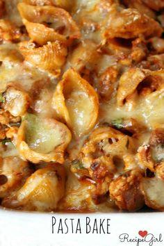 Pasta Bake - Baked Turkey Pasta Shells with Cheese - RecipeGirl