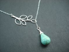 five leaf branch and turquoise briolette lariat by Lana0Crystal