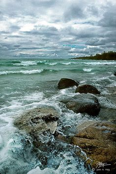 One of the Great Lakes surrounding Michigan - Lake Huron