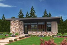 Exclusive Tiny Modern House Plan with Outdoor Spaces Front and Back - 85133MS thumb - 03