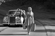 vintage girl with suitcases