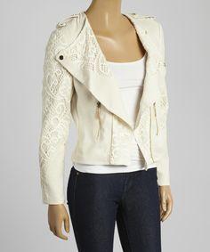 Ivory Lace Zipper Jacket I-N-S-I-G-H-T New York