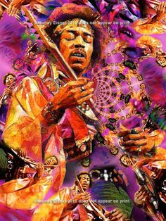 JIMI HENDRIX, Rock & Roll ART Giclee Print on Archival Etching, Ultra-fine Watercolor Paper or Canvas