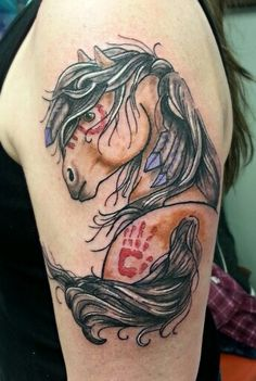Native American Horse Tattoo. By Tom Hacic @ RedHouse Tattoo