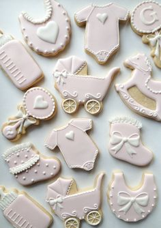 Pink and white Decorated Baby Cookies - One Dozen Decorated Sugar Cookies - Perfect for Baby Showers