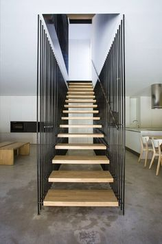 Image 12 of 30 from gallery of Country House at El Cobijo-San Vicente De La Sonsierra / Blur Arquitectura. Photograph by Berta Buzunariz Architecture Design, Stairs Architecture, Interior Staircase, Staircase Design, Stair Design, Wood Staircase, Spiral Staircases, Escalier Design, Stair Handrail