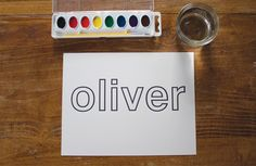 Outline font + craft activity.  Need to do this with my son so he can practice writing his name!