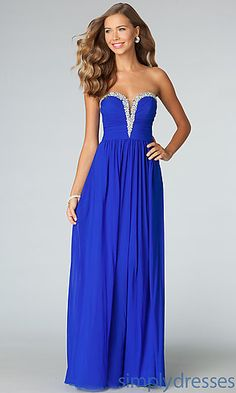 Royal blue gown with silver glitter. Strapless Evening Gown JVN by Jovani at SimplyDresses.com