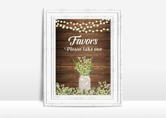 Rustic Favors Sign Printable, Wedding Sign, Rustic Wedding Favors Sign, Favors Table Sign, Printable Favors Sign, Babys Breath Wedding Sign - pinned by pin4etsy.com