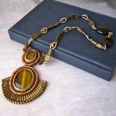 Bead Embroidery Gemstone Statement Necklace - Jewelry creation by Raziela Designs Gemstone Jewelry, Beaded Jewelry, Unique Jewelry, Bead Weaving, Beaded Embroidery, Bracelets, Necklaces, Jewelry Making, Jewels