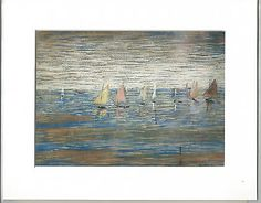 L. s. lowry  #print of a #drawing in #coloured crayons - yachts,  View more on the LINK: http://www.zeppy.io/product/gb/2/371437377707/