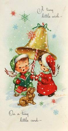Vintage Greetings Card A Tiny Little Wish Christmas