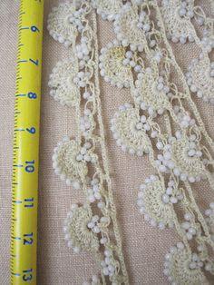 turkish oya crochet lace sold on etsy Crochet Motifs, Crochet Borders, Crochet Trim, Love Crochet, Bead Crochet, Beautiful Crochet, Crochet Flowers, Crochet Lace, Crochet Stitches