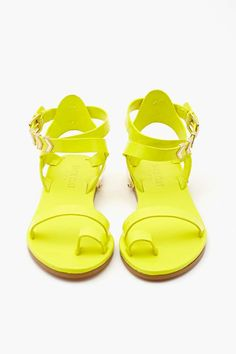 Zealand Sandal - Neon Yellow in Shoes at Nasty Gal Shoes Flats Sandals, Flat Gladiator Sandals, Neon Shoes, Women's Shoes, Womens Golf Shoes, Womens High Heels, Yellow Sandals, Frauen In High Heels, Zapatos