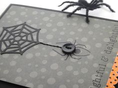 Halloween spider card idea  supplies: Boo To You stamp set, Spooky Sweets stamp set, True Black ink, True Black cardstock (Papertrey Ink) • spiderweb punch (EK Success) • Monster Mania sugar coated cardstock sticker (Doodlebug) • vintage black button • black embroidery floss (DMC) • Spookville Ghoulish Ghosts paper (We R Memory Keepers) • 3D foam squares (Scrapbook Adhesives) • 5½ x 4¼ card by Heather Nichols