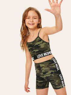To find out about the Girls Letter Hem Camo Print Cami Top & Shorts Set at SHEIN, part of our latest Girls Two-piece Outfits ready to shop online today! Dresses Kids Girl, Kids Outfits Girls, Cute Girl Outfits, Summer Outfits, Camo Outfits, Preteen Girls Fashion, Girls Fashion Clothes, Girl Fashion, Fashion Outfits