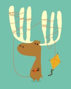 A moose ing illustration by Budi Kwan. www.budikwan.com #moose #illustration #print #visual art #illustrated #character #kite #minimal