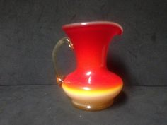 Vintage Kanawha Amberina Cream Pitcher with Applied Clear Handle #4 by AGlassBoutique on Etsy