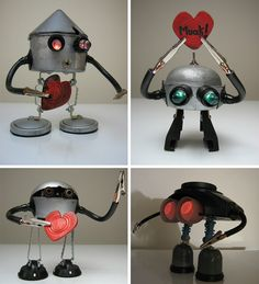 Batteries Not Included Adorable Junk Robot. Recycled Robot, Recycled Art, Repurposed, Robot Theme, Arte Robot, Mini Monster, Robots For Kids, Found Object Art, Junk Art